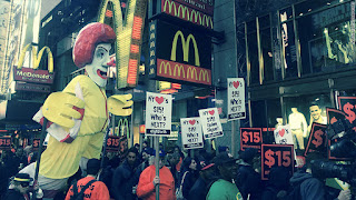 McDonald's employees take to the streets in protest of wages