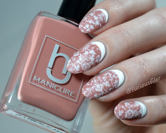 hj manicure coco damask stamp antique dry brush nails