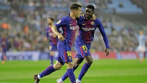Coutinho và Dembele phối hợp trong tình huống mở tỷ số.