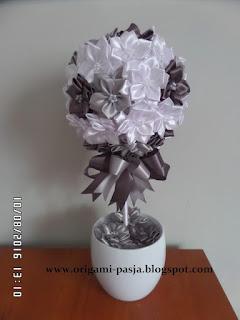 kwiaty, drzewko, szary, biały, doniczka, ceramiczna, oryginalny, prezent,