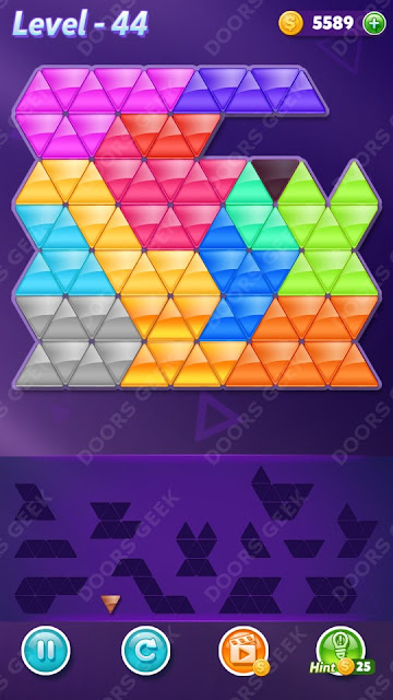 Block! Triangle Puzzle Champion Level 44 Solution, Cheats, Walkthrough for Android, iPhone, iPad and iPod