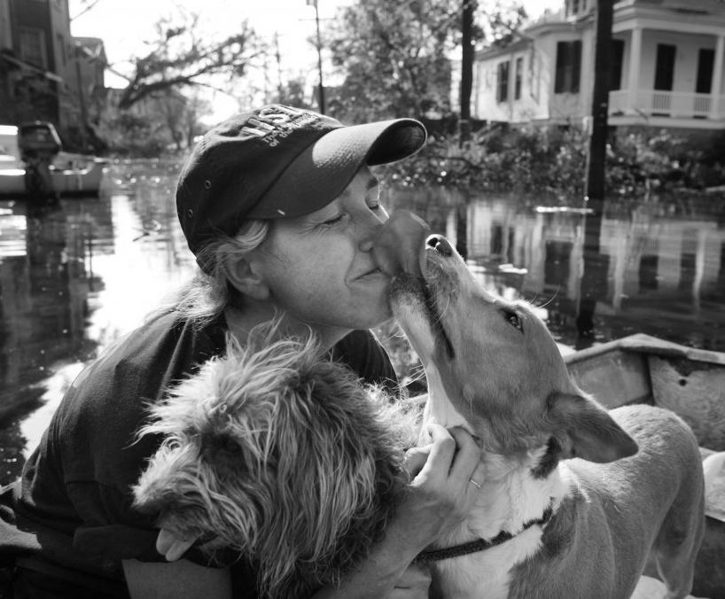 Image result for Hurricane Katrina rescue black and white