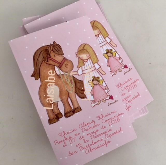 recordatorios de comunion niña caballo