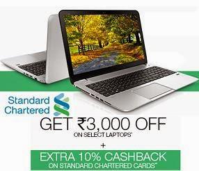 (Expired) Flipkart Laptop Mega Offer: Get Flat Rs.3000 extra Off+ Extra 10% Cash Bank for Standard Charted Bank Credit / Debit Cards