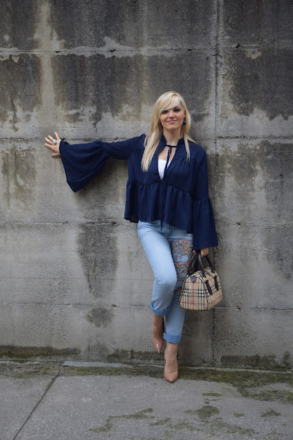 outfit camicia blu manica campana come abbinare una camicia abito campana outfit ottobre 2016 outfit autunnali  fashion blogger italiane mariafelicia magno web influencer italiane outfit casual camicia sammy dress