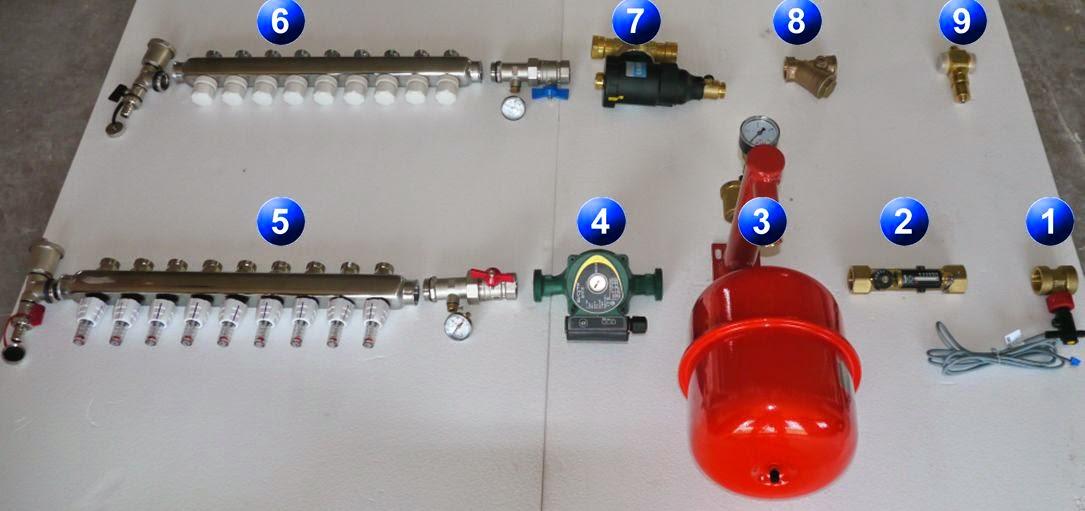 Kit pour brancher une pompe à chaleur à un plancher chauffant sec mince Caleosol