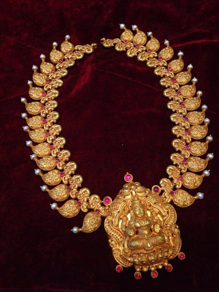 Traditional Nakshi Work Mango Haaram 22kGoldDesigns