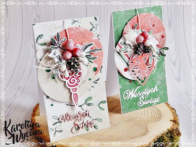 Kartki świąteczne z bombkami z wykrojnika