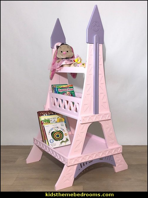 Eiffel Tower  bookshelf pink paris themed furniture kids rooms baby nursery