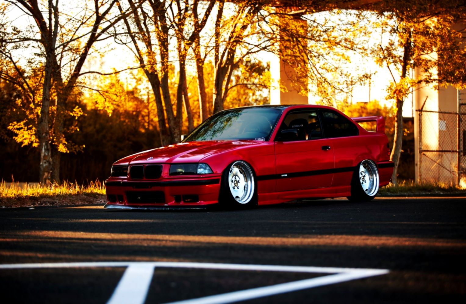 Bmw E36 Red Car Tuning Autumn Hd Wallpaper