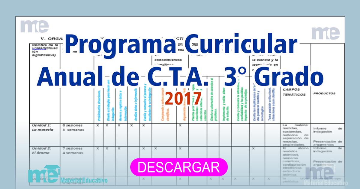 Programa Curricular Anual de C.T.A. 3° Grado Primaria 2017