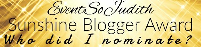 sunshine blogger award, blogger, evensojudith