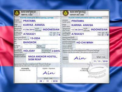 Kartu Kedatangan-Keberangkatan - Kamboja