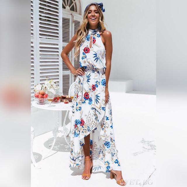 Ασύμμετρο φλοράλ φόρεμα KARINA WHITE