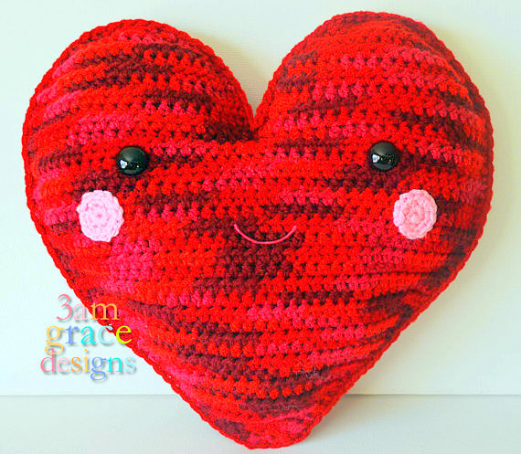 heart Kawaii Pillow Cuddler Crochet Pattern
