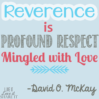 Reverence is profound respect mingled with love. - David O. McKay