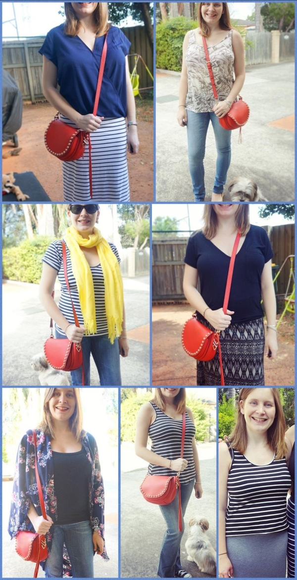 AwayFromBlue | April Purchases Striped Tank RM red saddle bag