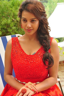 Actress Deeksha Panth Stills in Red Short Dress at Banthi Poola Janaki Press Meet  0050.jpg