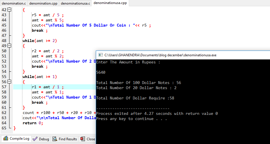 C++ Program For Denomination For USA Dollar