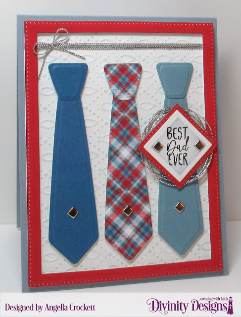 Divinity Designs: Best Dad Ever, Fish Embossing Folder, Couture Collection Dies, Old Glory Paper Collection, Pierced Rectangles Dies, Pierced Squares Dies, Squares Dies, Card Designer Angie Crockett