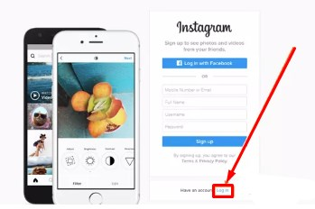 instagram signup with facebook or email