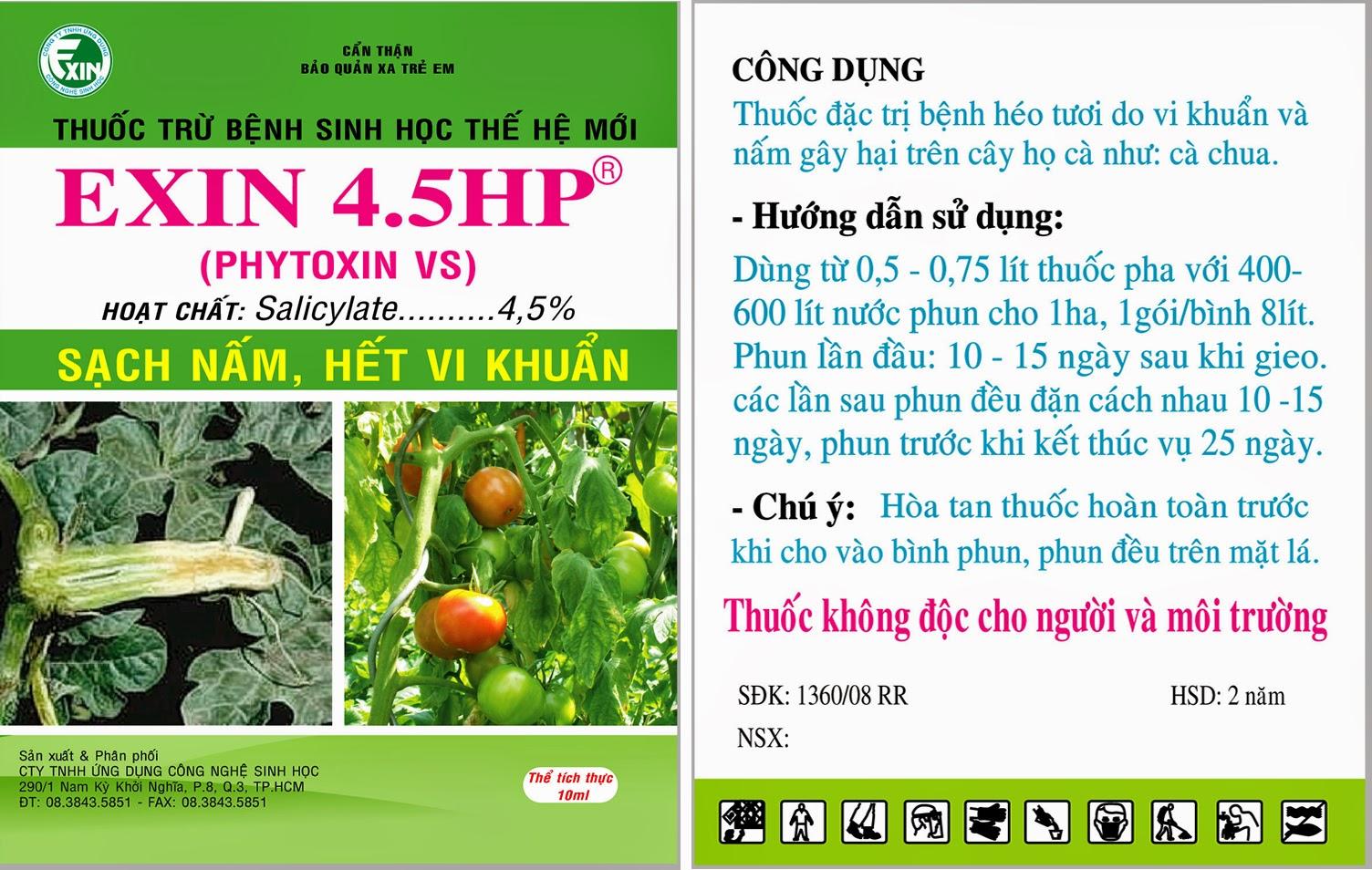 Trừ nấm bệnh, vi khuẩn sinh học EXIN 4.5HP