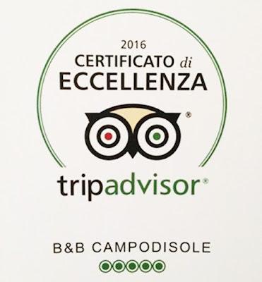 TripAdvisor certificato di Eccellenza per B&B Campodisole
