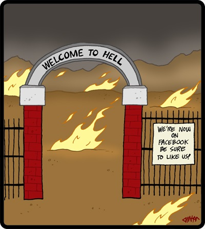 Funny devil satan hell gates facebook like image joke cartoon