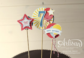 Superstar, Number of Years, Balloon Celebrations, Cake Topper, TGIFc65, Stampin' Up!, Papercraft by Jennifer Frost