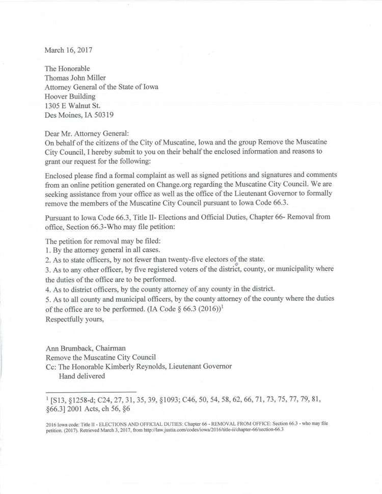 Jon\u0027s Blog Iowa AG Office Rejects Petition to Remove Muscatine City - petition office