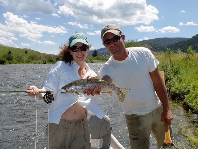 Josée and Dan Rust with rainbow on Madison River, West Yellowstone, MT