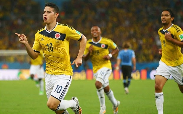colombian striker rodriguez celebrates after scoring againt Uruguay