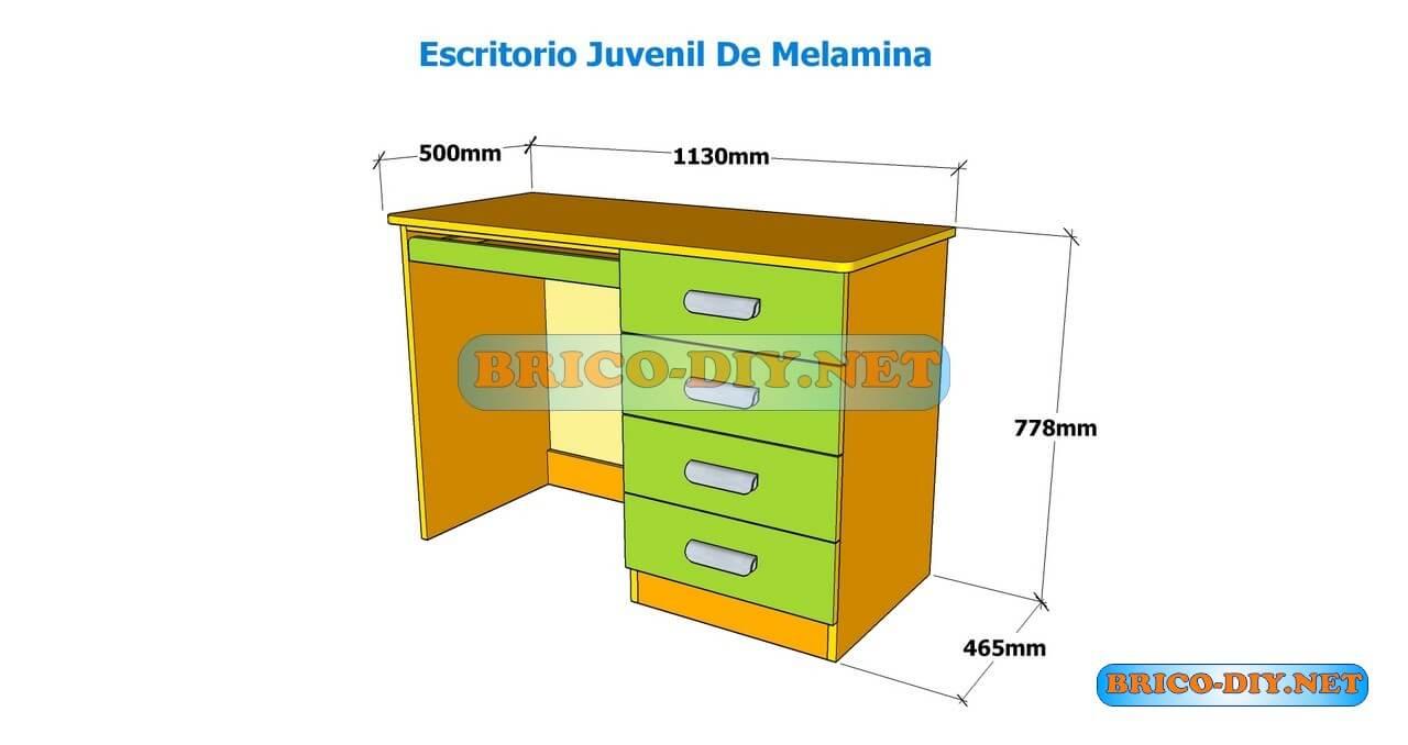 Como hacer un escritorio juvenil planos con medidas para for Medidas estandar de cajones de cocina