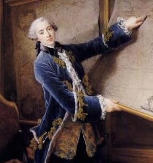 Französische Herrenmode Mantel aus dunkelblauen Samt mit gestickten Verzierungen, 18. Jahrhundert