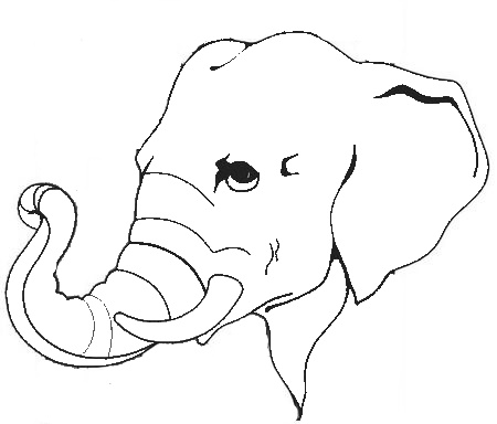 Animal Elephant Head Printable Coloring Sheet