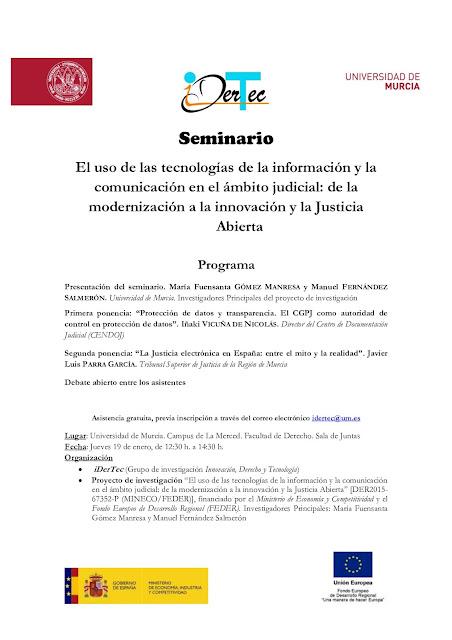 """Seminario: """"El uso de las tecnologías de la información y la comunicación en el ámbito judicial: de la modernización a la innovación y la Justicia Abierta""""."""