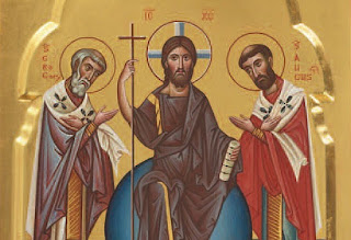 Orthodox Icon of Pope St. Gregory the Great (left) & St. Augustine of Canterbury (right) pointing to Christ