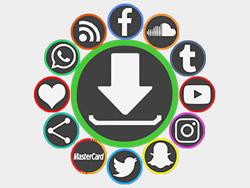 Outline Centered Black Social Buttons