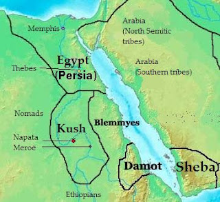Map of Africa in 400 BC, showing the kingdom of Kush and its neighbouring countries.