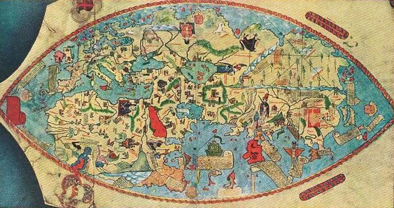 Map Of The World Before Columbus.S Vikas World Map 15th Century