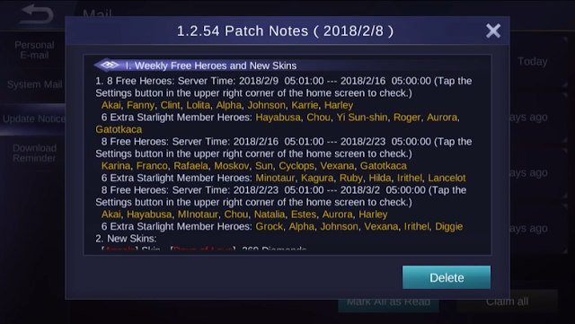 Mobile Legends Patch Notes 1.2.54
