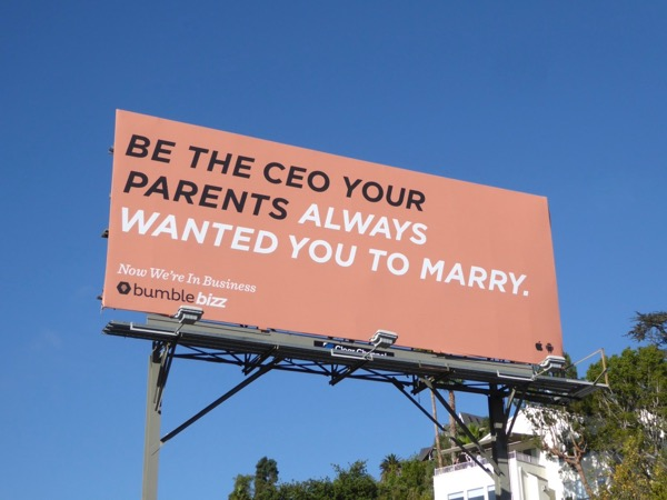 Be CEO parents marry Bumble Bizz billboard