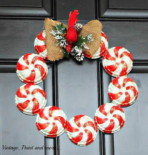 Vintage, Paint and more... Candy stripe wreath made with vintage jello molds, paint and glitter