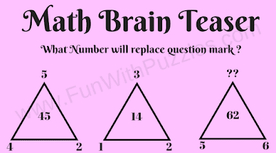 Maths Brain Teasers to find the missing number in the triangle