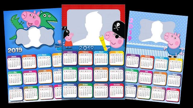 Calendario 2019 de George Pig para Imprimir Gratis.
