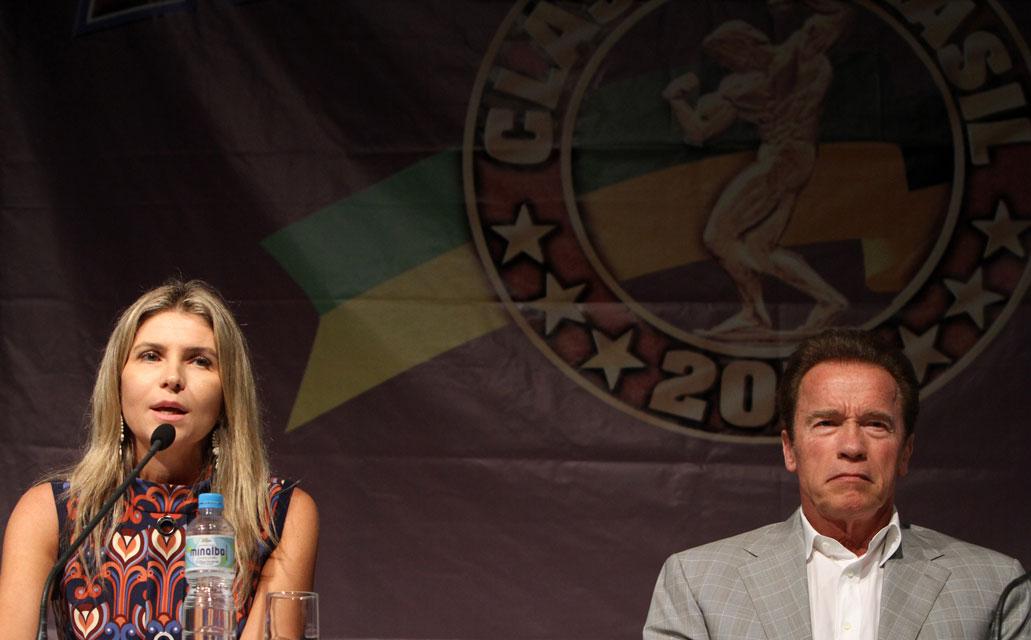 Ana Paula Leal e Arnold Schwarzenegger e Arnold Schwarzenegger. Foto: Levy Ribeiro / Divulgação