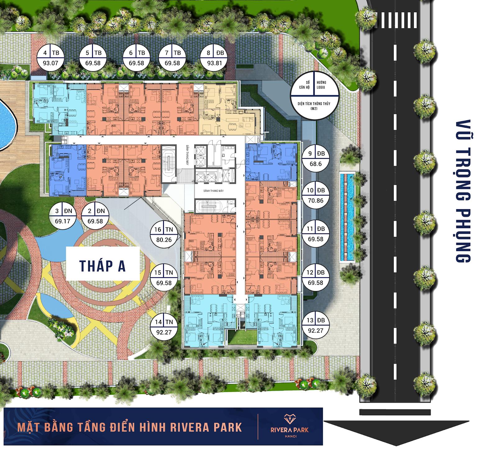 Hình ảnh Mặt bằng căn hộ Rivera Park Hà Nội Tháp A | Xem Thiết kế 3D