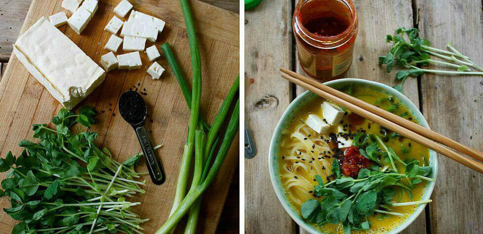 16 Vegan One-Pot Recipes If Your Are Considering Cutting Animals Out Of Your Diet - Butternut Squash Ramen Bowl With Rice Noodles, Tofu and Pea Shoots