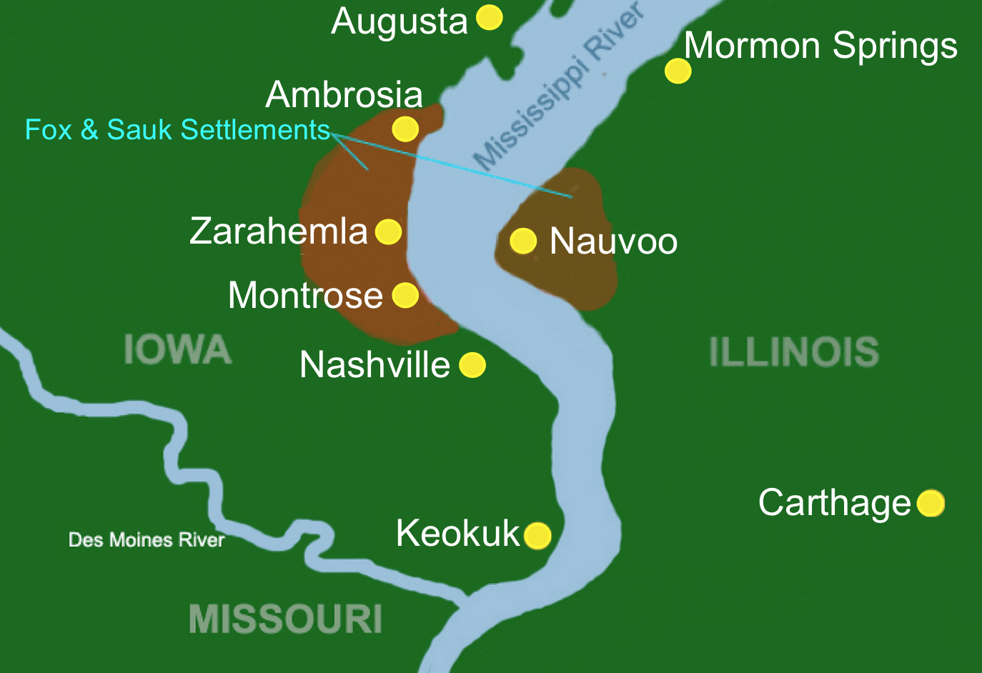 in 1839 arriving mormons bought the township of commerce and joseph smith renamed it nauvoo across the mississippi was the area of montrose which joseph