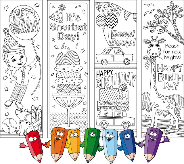 birthday coloring bookmarks for boys